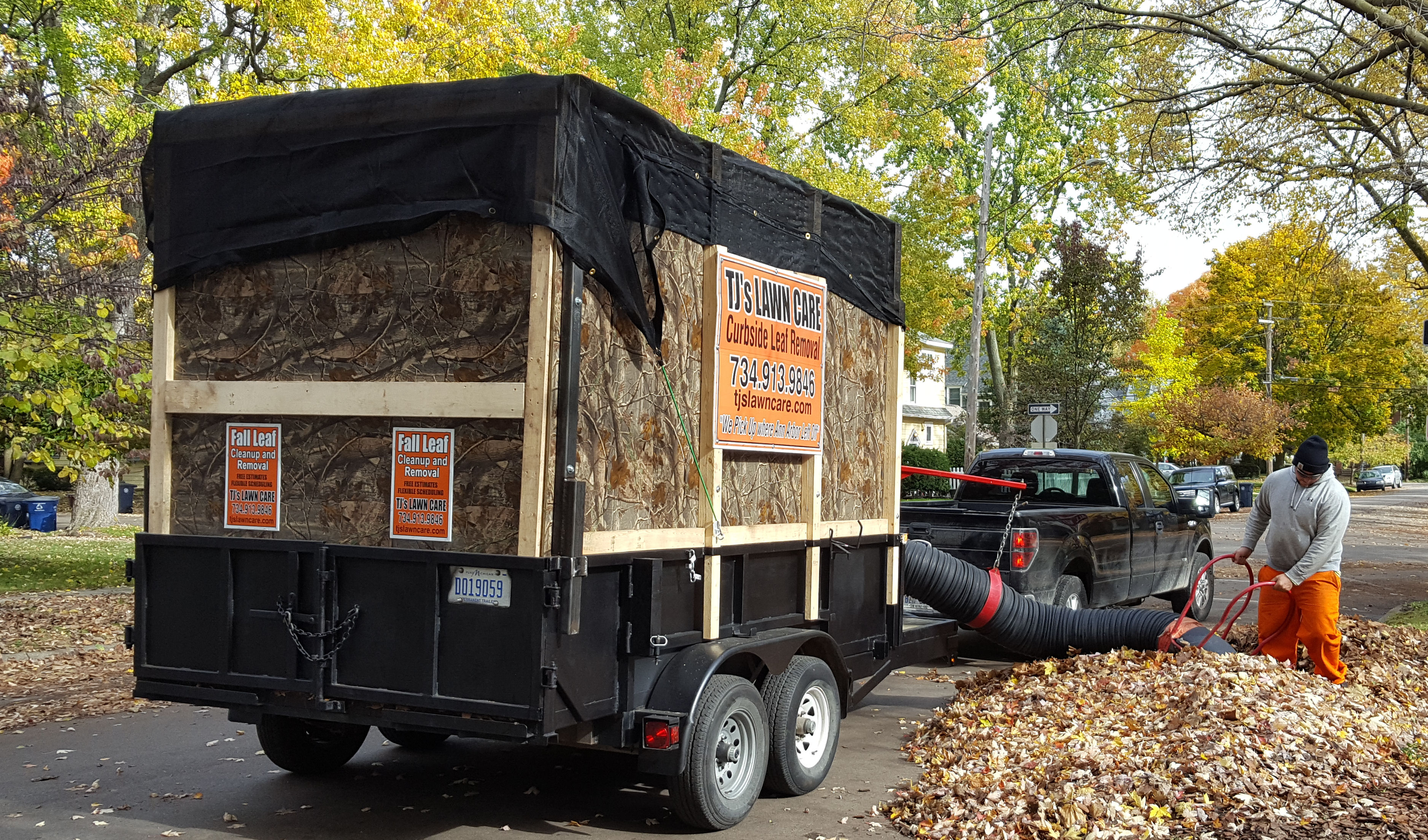 TJs Will Remove Your Leaves Using Our Powerful Vacuum System Well The Piles Of Right Off Front Curb Depositing Them Into Trailer